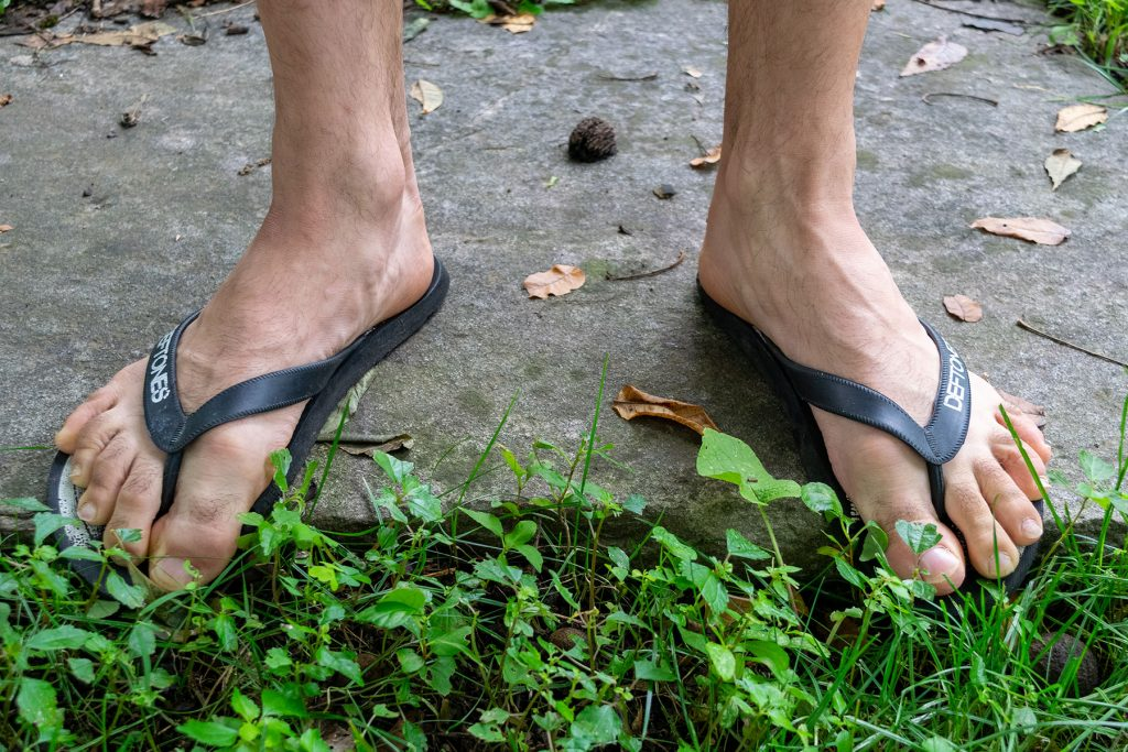 Flip flops being worn for hiking, when almost any other choice of footwear would be better