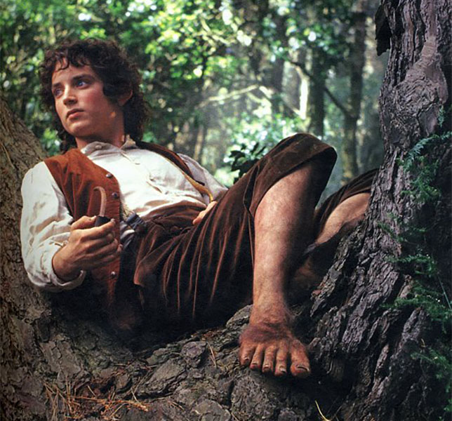 Hobbit Frodo in tree with dirty feet
