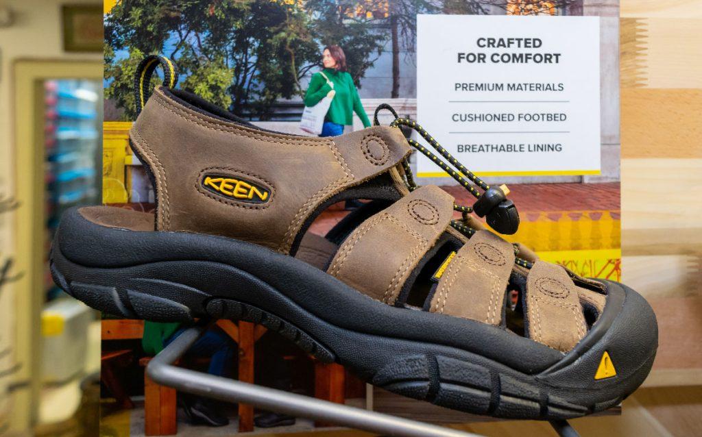 Keen hiking sandal on display.